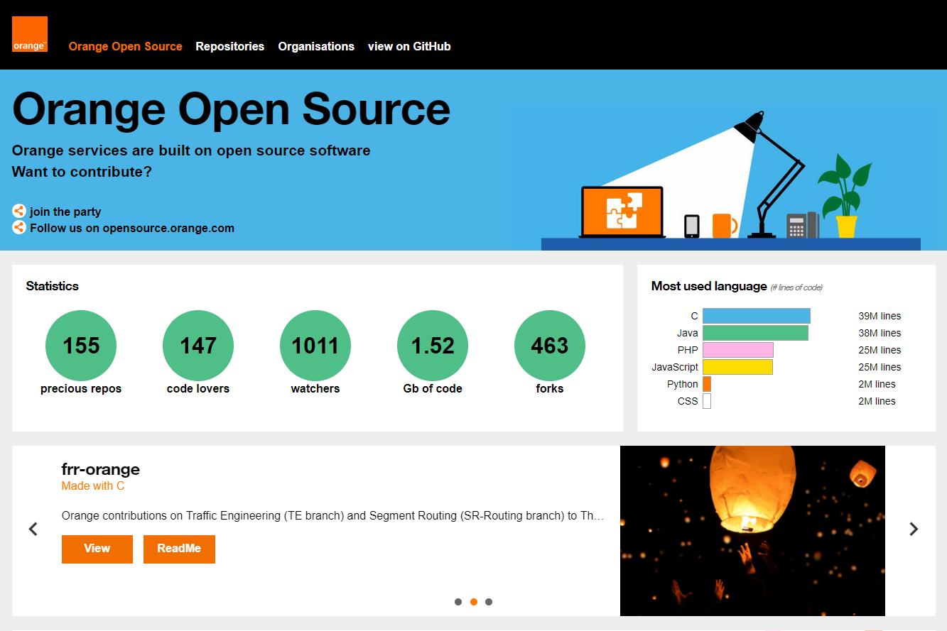 Orange-OpenSource GitHub homepage